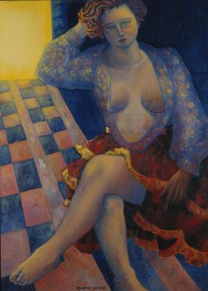 Femme au damier, Brigitte Moreau Serre