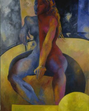 Femme en bleu et rouge, Brigitte Moreau Serre