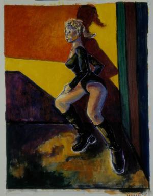 Brigitte Moreau Serre, Femme en justaucorps sur fond jaune