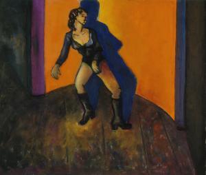 Femme en justaucorps sur fond orangé, Brigitte Moreau Serre