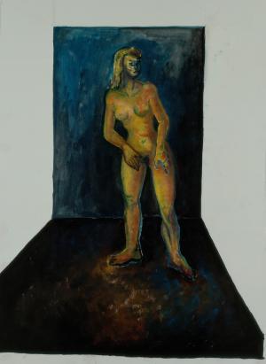 Femme sur fond bleu de face, Brigitte Moreau Serre