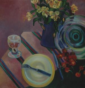 Brigitte Moreau Serre, Nature morte à l'assiette jaune et au verre de vin