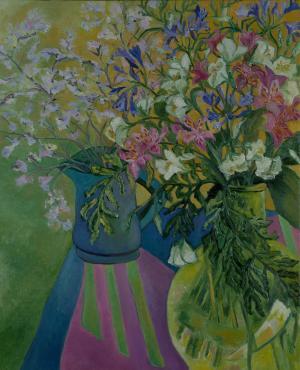 Brigitte Moreau Serre, Nature morte à la nappe à Saint Tropez