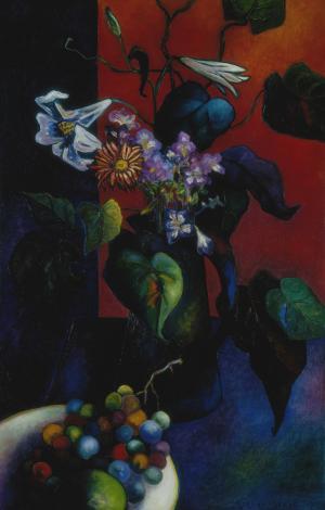 Brigitte Moreau Serre, Brigitte Moreau Serre, Nature morte à l'assiette de raisins
